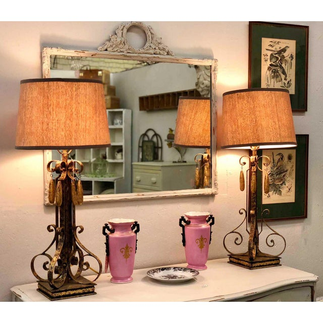 Black Gold Brushed Metal Lamps With Four Hanging Brushed Gold Fobs - a Pair For Sale - Image 8 of 8
