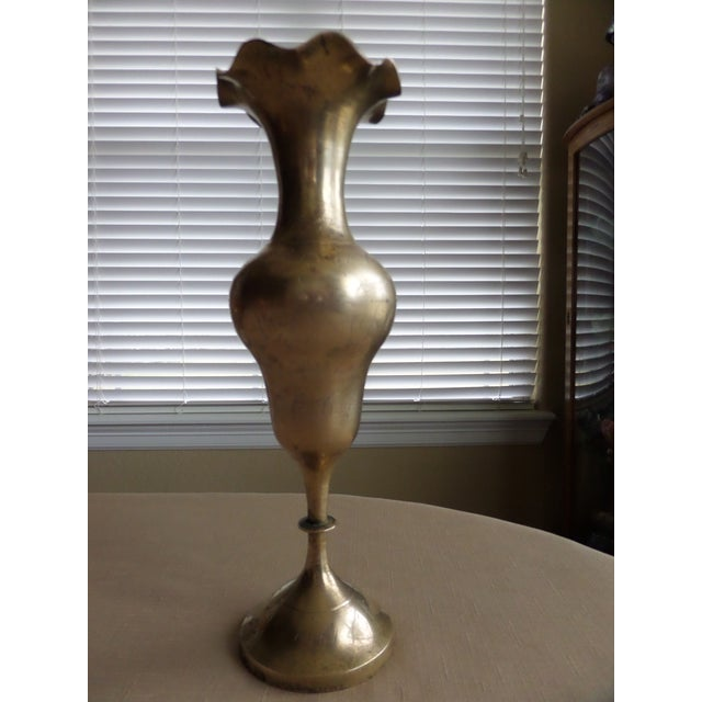 Vintage Solid Brass Etched Vase With a Bulbous Middle & an Unusual Ruffled Top For Sale - Image 4 of 7