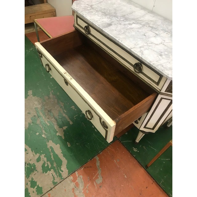1940s Italian Painted Louis XVI Style Marble Top Chest of Drawers For Sale - Image 10 of 12