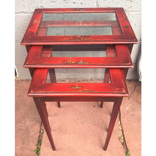 Japanese Red Lacquer and Glass Nesting Tables - Set of 3 For Sale - Image 13 of 13