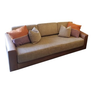 A. Rudin Tan Leather & Chenille Sofa