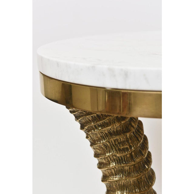 1970s 1970's Vintage Solid Brass and Marble Side Horn Table For Sale - Image 5 of 10
