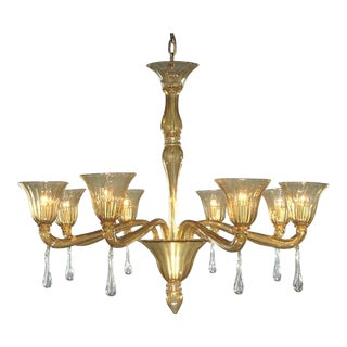 Myran Allen Luxury Lighting Modern Fine Italian Amber Murano Glass Chandelier For Sale