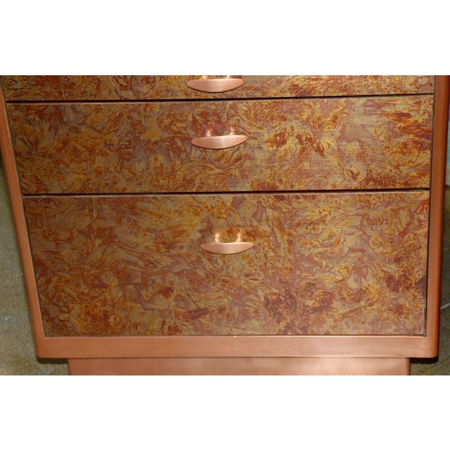 Metal Patinated Copper Sheet Clad Nightstands or Chests - a Pair For Sale - Image 7 of 13