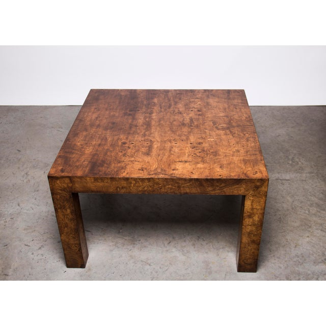 1970s Hollywood Regency Burl Wood Coffee Table For Sale - Image 4 of 4