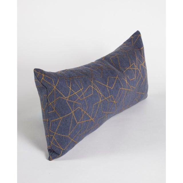Modern Blue & Gold Hexagons Lumbar Pillow For Sale - Image 3 of 7