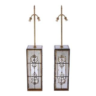 Maison Jansen Rectangular Eglomise Table Lamps - a Pair For Sale