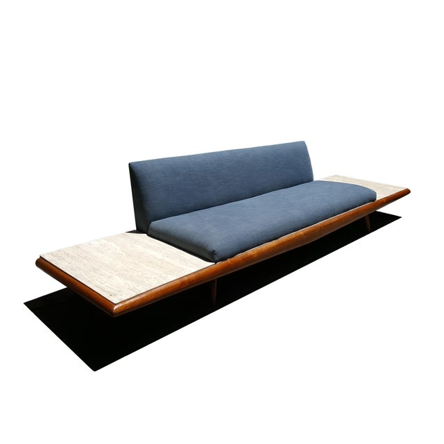 Blue Mid Century Modern Adrian Pearsall Platform Sofa With Travertine End Tables by Craft Associates For Sale - Image 8 of 8