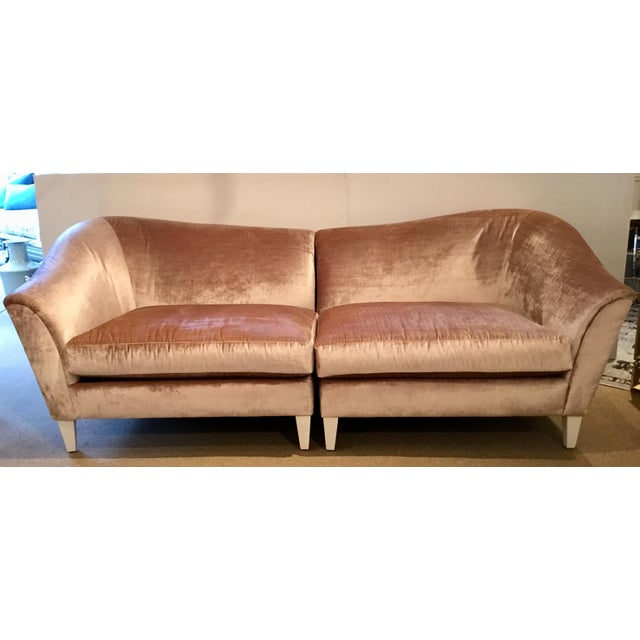 Caracole Modern Blush Velvet Two Piece Sofa For Sale In Atlanta - Image 6 of 6