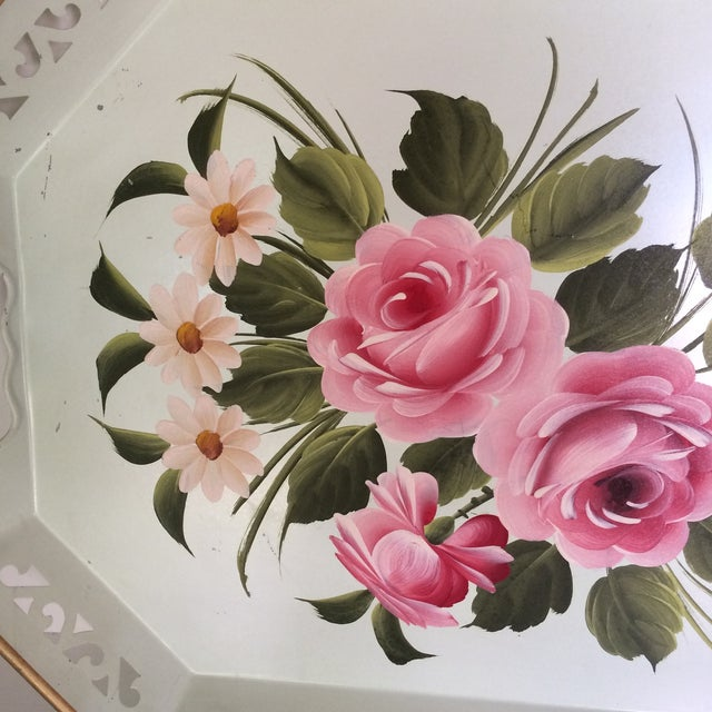 Green Hand Decorated Light Green Metal Tole Tray With Pink Roses by Pilgram Art For Sale - Image 8 of 13