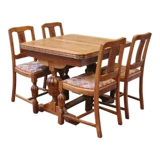 Antique English Oak Draw Leaf Pub Dining Set - 5 Pieces For Sale