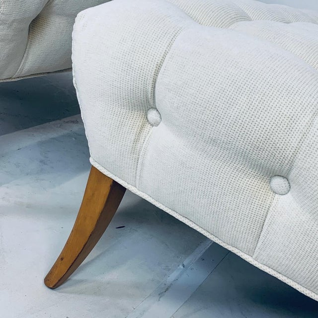 """Wiliam """"Billy"""" Haines Large Scale Regency Tufted Klismos Lounge Slipper Chairs - a Pair For Sale - Image 10 of 13"""