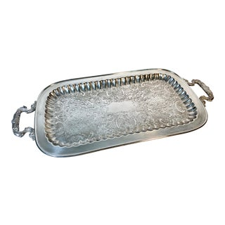 Vintage English Leonard Etched Footed Silverplate Butler Tray For Sale