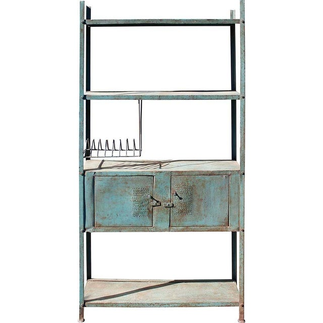 2-Door Blue Vintage Iron Rack - Image 2 of 5