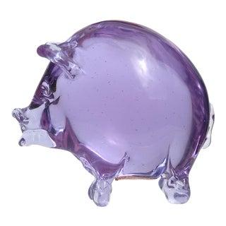 Seguso Murano Purple Blue Alexandrite Italian Art Glass Color Changing Pig Figurine For Sale