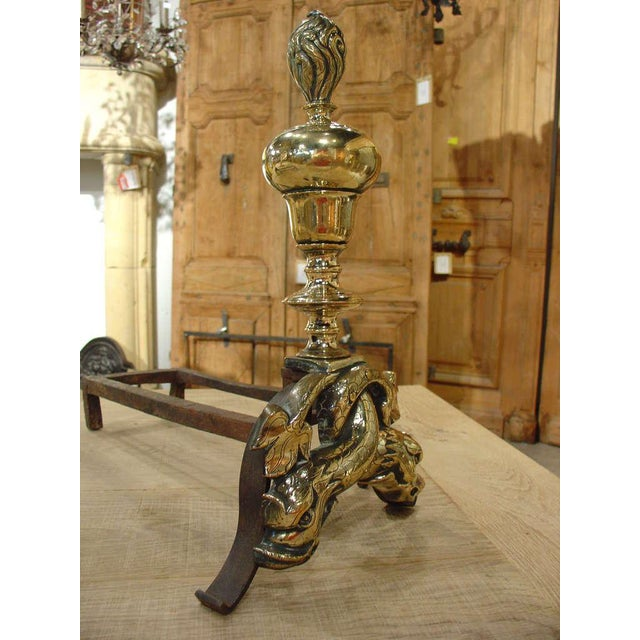 Pair of Period Louis XIV Bronze Andirons For Sale - Image 4 of 10