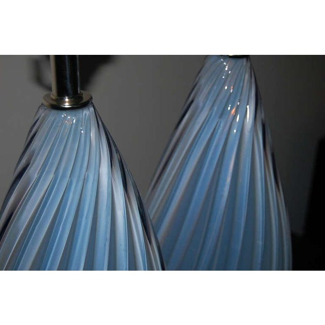 Brass Vintage Murano Opaline Glass Table Lamps Lavender- A Pair For Sale - Image 7 of 7