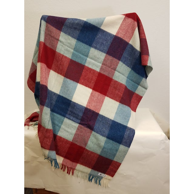 English Wool Throw Red Blue White Square Stripes - Made in England For Sale - Image 3 of 12