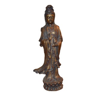 Early 1900's Guilt Bronze Statue of Kwan Yin For Sale