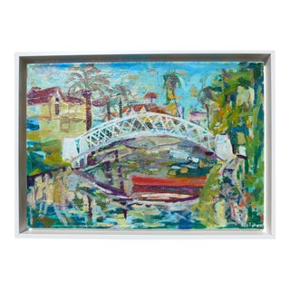 Contemporary Oil Painting, Venice California, Canals Landscape by Martha Holden For Sale
