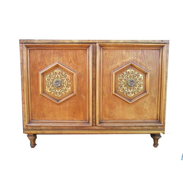 Ornate Burled Wood Hollywood Regency Dresser Cabinet By Peppler For Sale - Image 9 of 9