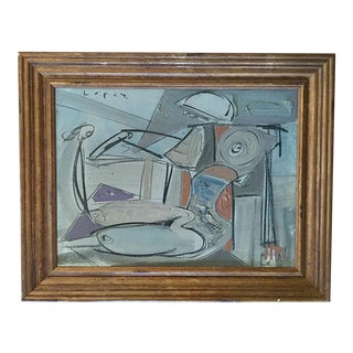 1970s Vintage Lopez Cubist Figurative Painting For Sale