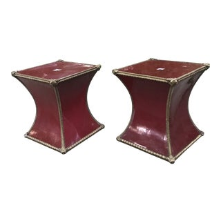 Deep Claret Garden Stools - a Pair For Sale