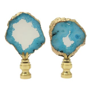 14kt Gold Banded Tiffany Blue Geode Finials by C. Damien Fox, a Pair. For Sale