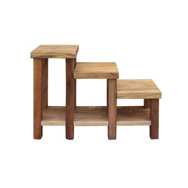 This is a handmade natural wood table stand with wood grain pattern in step shape with three display tops. Dimensions:...