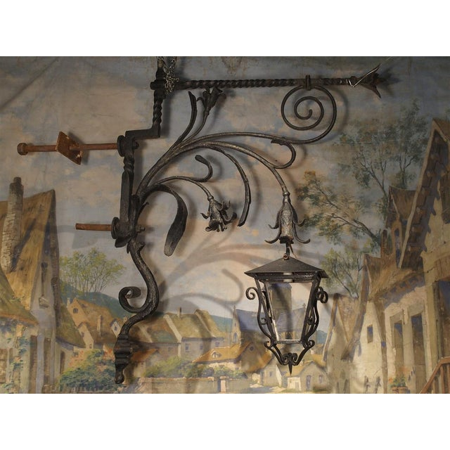 Massive Circa 1700 Forged Iron Lantern Holder From a Castle in Wallonia Belgium For Sale - Image 10 of 12