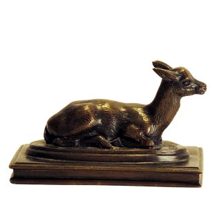 1860s French Doe Attributed to Antoine-Louis Barye Bronze Figure For Sale