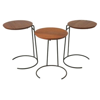 Jens Risom Wrought Iron & Walnut Stacking Tables - Set of 3 For Sale