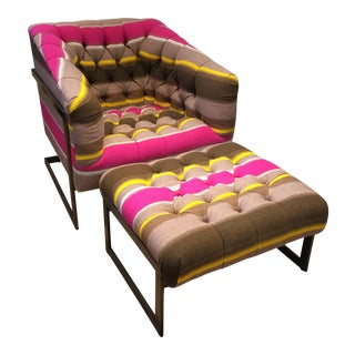 Modern Peruvian Wool Striped Modern Lounge Chair & Ottoman For Sale