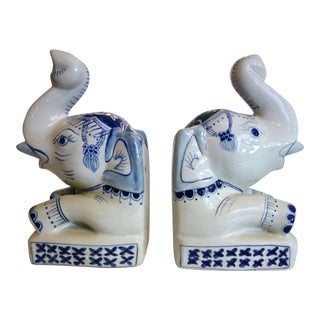 Blue and White Elephant Bookends For Sale