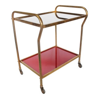 Midcentury Italian Brass and Colored Glass Bar Cart For Sale