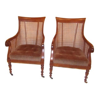 Hickory Chairs Cane Back With Leopard Print Seat Cushion Chairs - a Pair For Sale