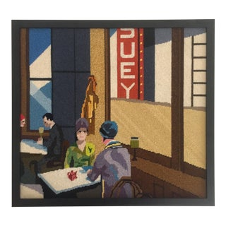"Edward Hopper ""Chop Suey"" Framed Needlepoint Textile Art For Sale"