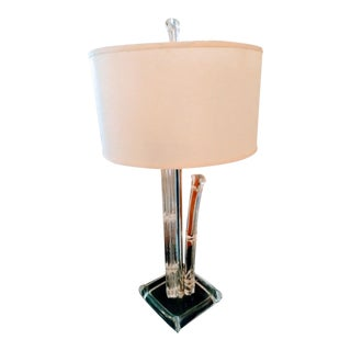 Vintage Large Lucite Clear Faux Bamboo Modern Charles Hollis Jones Style Table Lamp With Parchment Shade For Sale