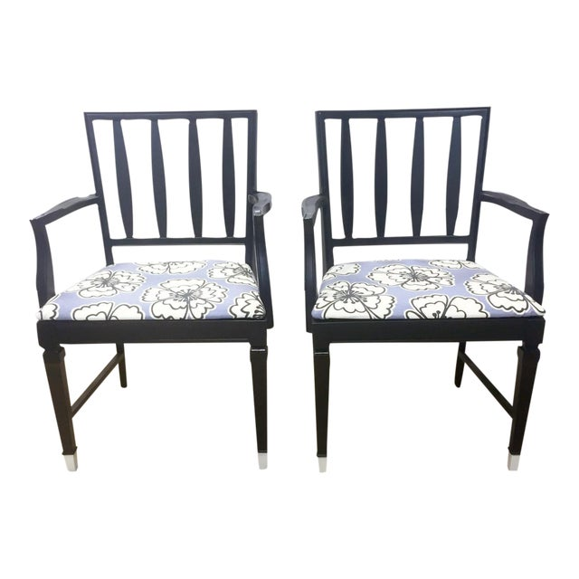 Vintage Black and Lavender Chairs - A Pair - Image 1 of 8