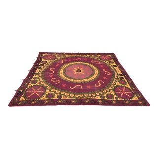 Antique Purple & Yellow Suzani Textile For Sale