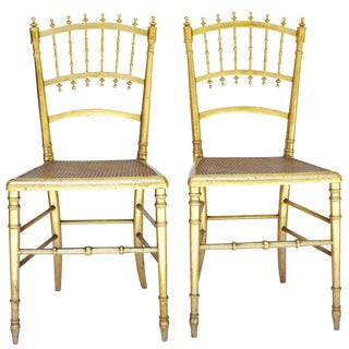 Early 19th Century Antique Napoleon III Gilded Chairs - a Pair For Sale