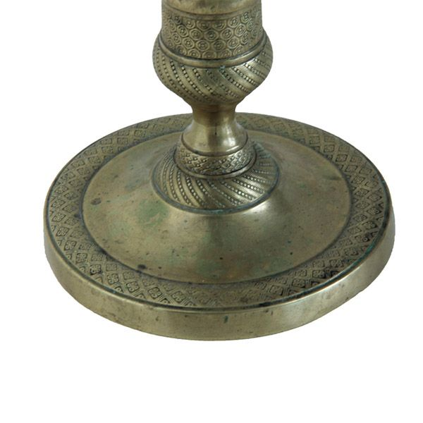 Add a French touch of modest elegance to your tabletop or mantel with this superb bronze Empire candlestick. The...