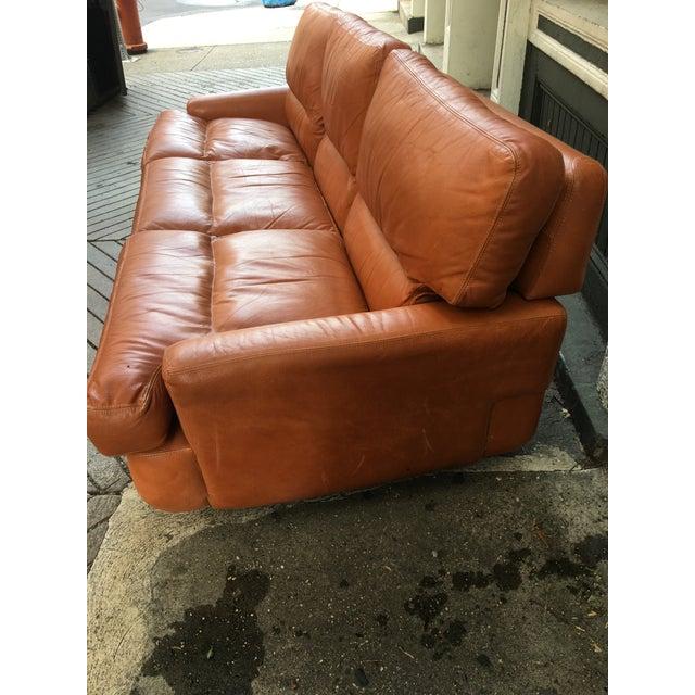 Saporiti Burnt Orange Leather Sofa For Sale In Philadelphia - Image 6 of 12