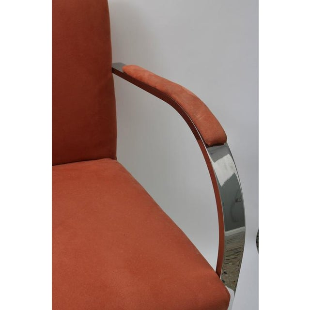 Brueton Brno Flat Bar Chairs by Knoll in Polished Steel and Ultra Suede - Set of 6 For Sale - Image 4 of 8