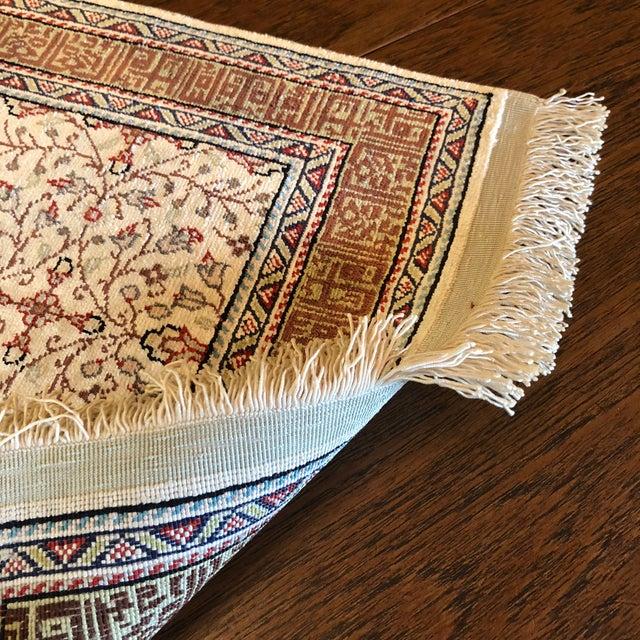 Turkish Silk on Silk Small Turkish Kayseri Handmade Rug For Sale - Image 3 of 13