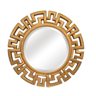 Athena Gold Round Accent Mirror For Sale