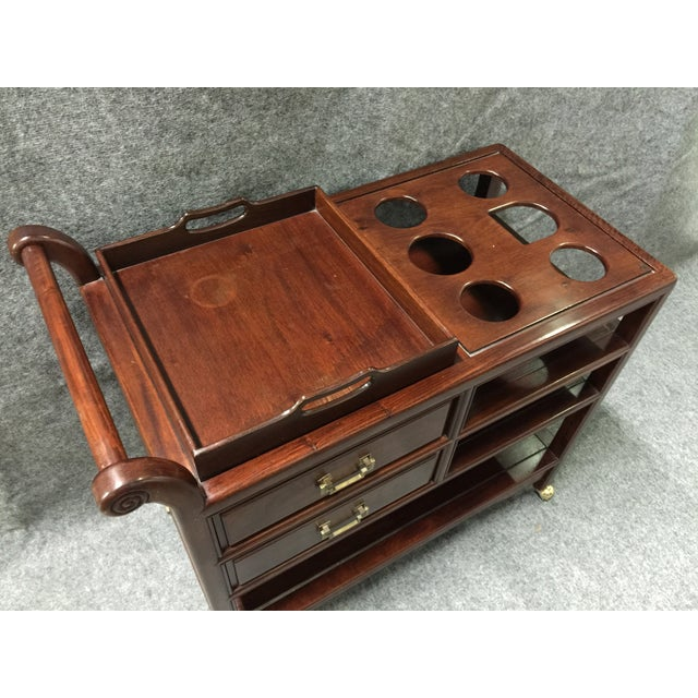 Vintage Rosewood Asian Tea Drink Cart - Image 6 of 7