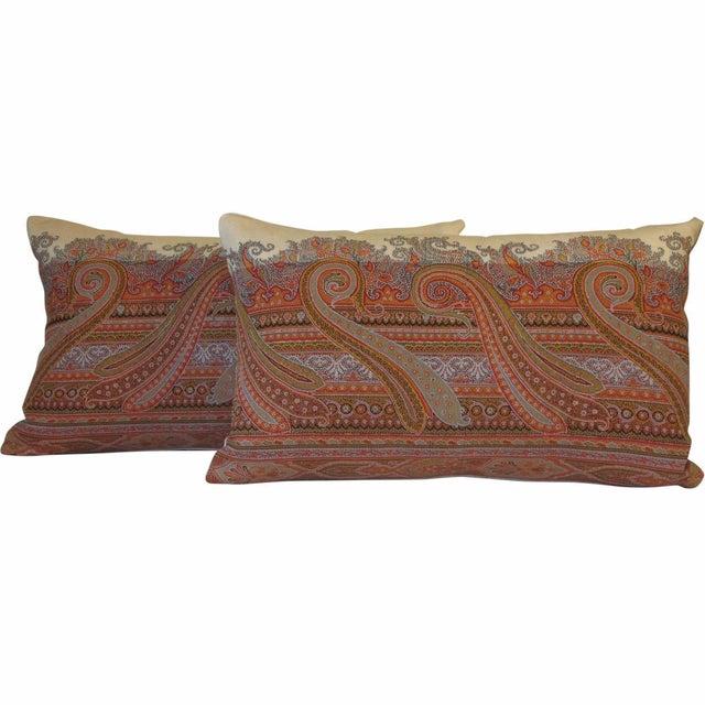 19th Century Scottish Wool Paisley Pillows - Pair - Image 1 of 3