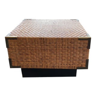 Vintage Rattan Square Coffee Table For Sale