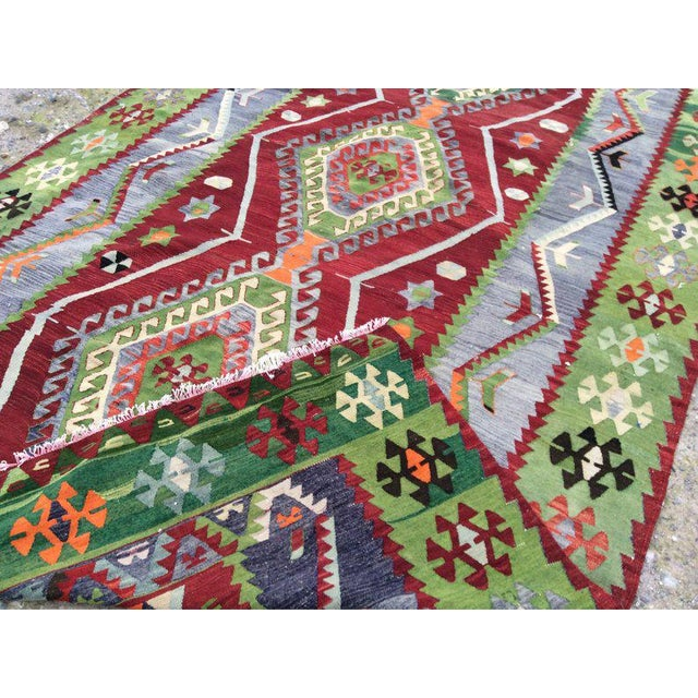 Textile 1970s Vintage Handmade Turkish Kilim Rug - 7′7″ × 12′2″ For Sale - Image 7 of 8